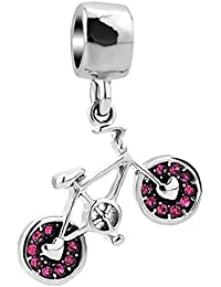 Q&Locket Blue/Pink Bike Bicycle Charms Dangle Spacer Beads for Bracelets
