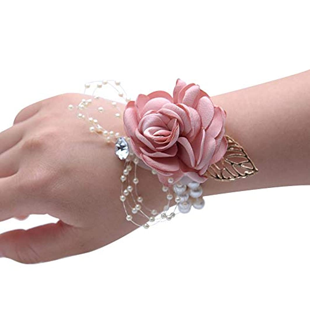 タオルむしろあたりMerssavo 手首の花 - 女の子チャーム手首コサージュブレスレット花嫁介添人姉妹の手の花のどの真珠の結婚式、ピンク