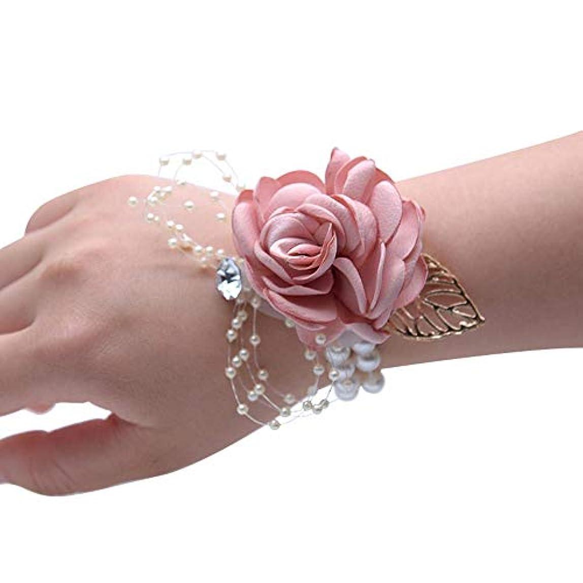 リーク靴下オートマトンMerssavo 手首の花 - 女の子チャーム手首コサージュブレスレット花嫁介添人姉妹の手の花のどの真珠の結婚式、ピンク
