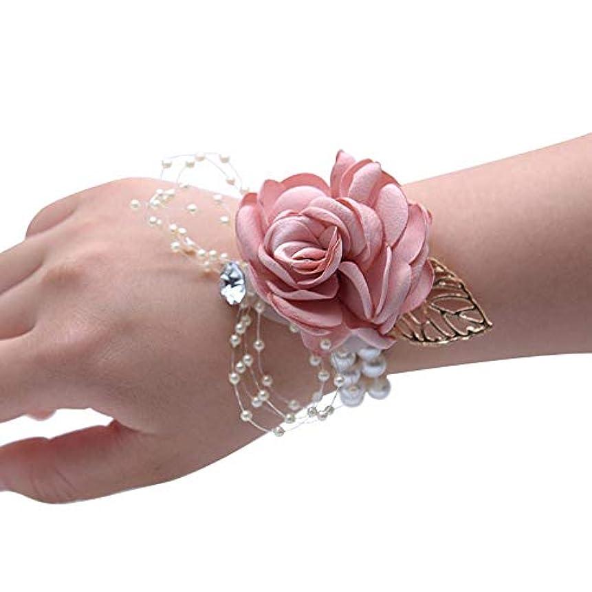 プロフィール匹敵します木材Merssavo 手首の花 - 女の子チャーム手首コサージュブレスレット花嫁介添人姉妹の手の花のどの真珠の結婚式、ピンク
