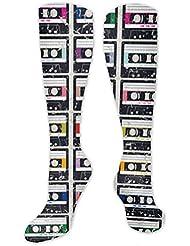 靴下,ストッキング,野生のジョーカー,実際,秋の本質,冬必須,サマーウェア&RBXAA Cassette Tapes Socks Women's Winter Cotton Long Tube Socks Knee High...