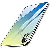 【Humixx】iPhone X ケース iPhoneXケース 背面強化ガラス×TPU ハイブリッドカバー 光学式メッキ加工 ストラップホール付き (グラデーションブルー)