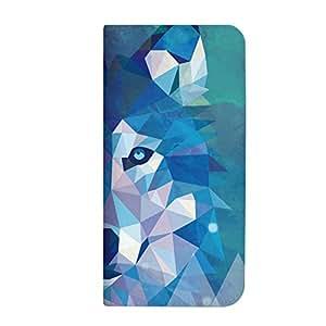mitas Android One X1 ケース 手帳型 ベルトなし 幾何学 動物 ポリゴン アニマル F・オオカミ (370) NB-0225-F/X1