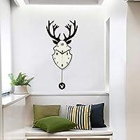 HYH 北欧のシンプルなヘラジカの壁時計リビングルームモダンなクリエイティブシンプルな人格アートポーチ鹿ヘッドデザインセンスクォーツ時計 美しい人生