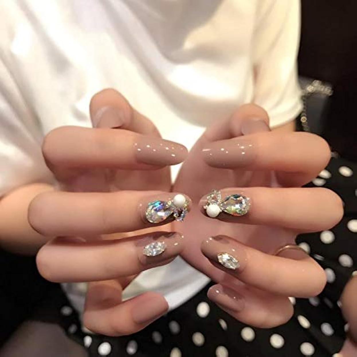 ピストルガム吸うVALEN Nail Patch 3D ネイルチップ 人造ダイヤモンド 24枚入 原宿 和風 夢幻 和装 手作りネイルチップ 結婚式ネイルチップ