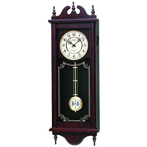 セイコー クロック 掛け時計 アナログ 報時選択式 チャイム&ストライク 長尺 飾り振り子 アンティーク調 木枠 茶 木地 RQ309A SEIKO