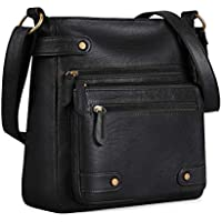 Plambag Crossbody Purse for Women, Washed Soft PU Leather Multi-Pocket Messenger Handbag