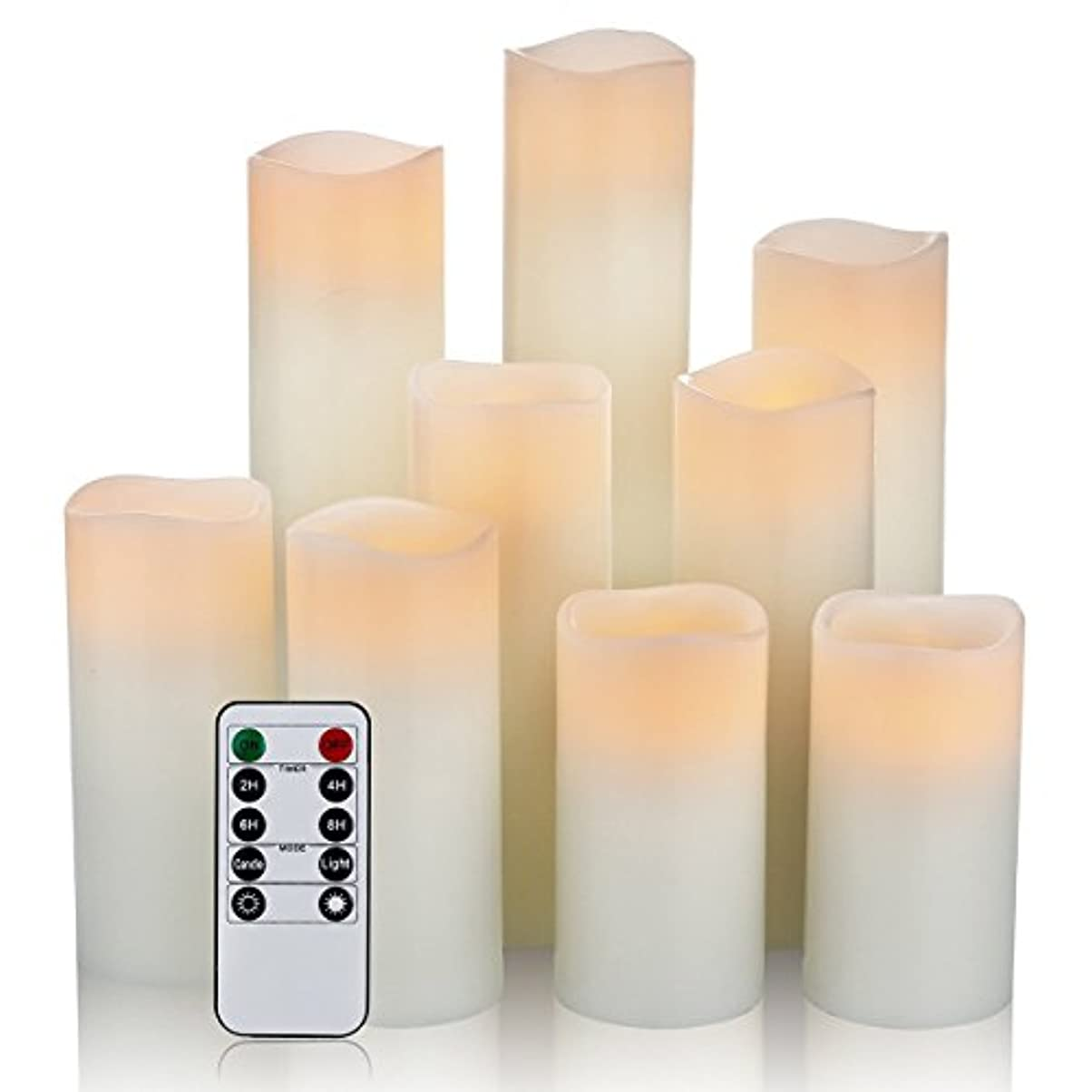 気質興奮する裕福な(9pc - 2.2 Diameter) - One World Magic Candle Set - Flameless, Battery Operated Real Wax Ivory Pillar Vanilla...