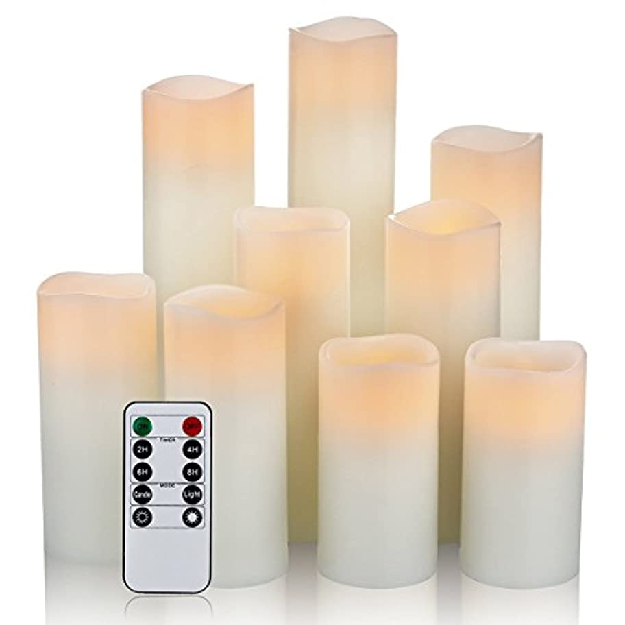 富豪ハードブラスト(9pc - 2.2 Diameter) - One World Magic Candle Set - Flameless, Battery Operated Real Wax Ivory Pillar Vanilla...