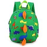 3D Cartoon Kids Harness Backpack Dinosaur Anti-Lost Leash Safety Strap Backpack Walking Travel School Bag Kindergarten Preschool Toddler Zoo Pack for 2-6 Years Old Unisex