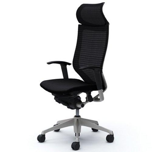 オカムラ デスクチェア オフィスチェア バロン 固定ヘッドレスト 可動肘 座クッション ブラック  CP87DR-FDF1
