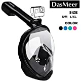 Full Face Snorkel Mask,DasMeer Seaview 180°GoPro Compatible Mask with Adjustable Head Straps & Easy Breathing & Anti-Fog Anti