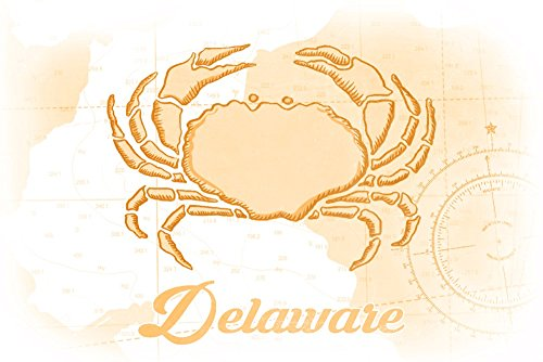 デラウェア州???Crab???イエロー???Coastalアイコン 16 x 24 Giclee Print LANT-70012-16x24