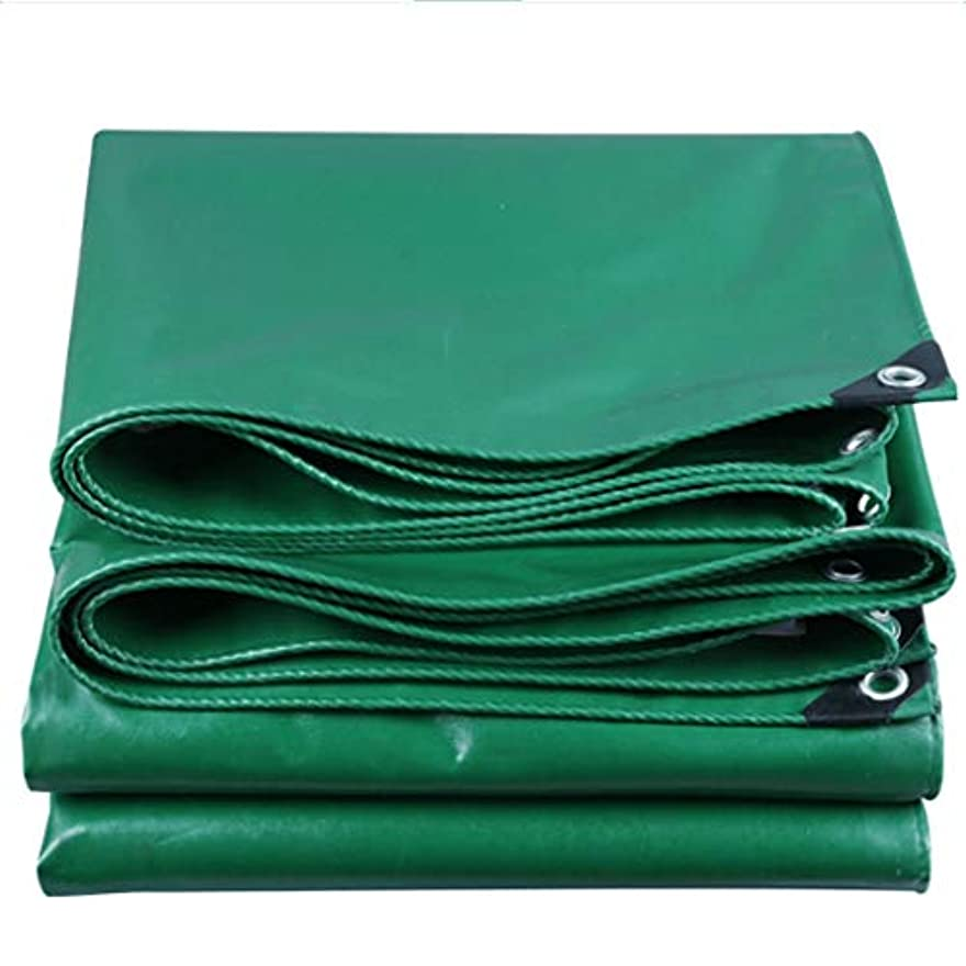 コードレス反響する平日厚い雨布ターポリン防水日焼け止め防水シート屋外日除け布キャンバスサンシェードポンチョ車トラックターポリン (Color : Green, Size : 4x5m)