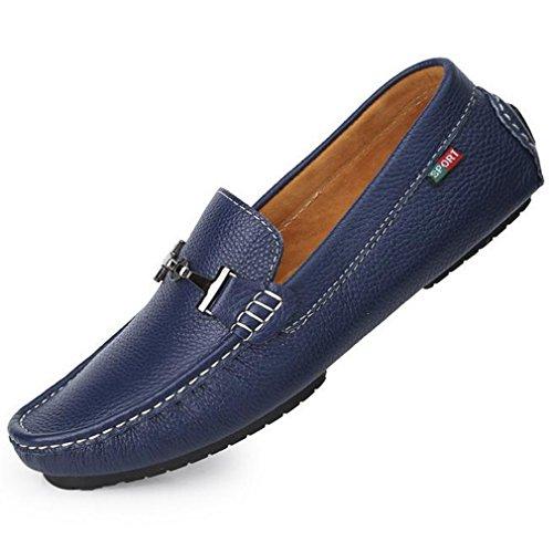 [QIFENGDIANZI] ドライビングシューズ 靴 シューズ 男性用 メンズ スリッポン デッキシューズ モカシン ローファー カジュアルシューズ ビジネスシューズ 蒸れない コンフォート ソフト 通気 履き心地よい 紳士用 ブルー 24.5cm