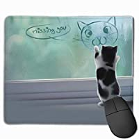 マウスパッド 片思い ねこ グレー ゲーミング オフィス最適 おしゃれ 疲労低減 滑り止めゴム底 耐久性が良い 防水 かわいい PC MacBook Pro/DELL/HP/SAMSUNGなどに 光学式対応 高級感プレゼント YAMAYAGO