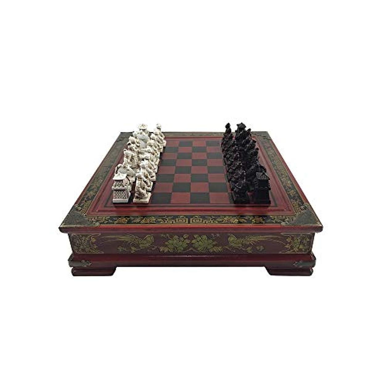ZEYUGTIW コレクション チェス 中国 テラコッタ ウォリアーズ チェス 木彫り 樹脂製 チェスマン クリスマス 誕生日 プレミアムギフト