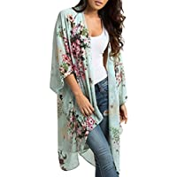 Guesthome Womens Loose Chiffon Shawl Print Kimono Cardigan Top Cover Up Blouse Beachwear