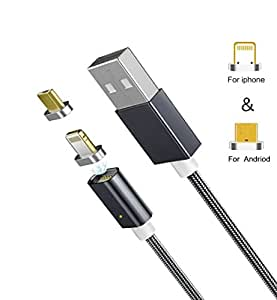 ZRSE(ザスイ)【2in1ケーブル】 iPhone/Android対応 Micro USB 両用 ケーブル マイクロ usb ケーブル マグネット式 USB充電 ライトニング ケーブル,高速充電 着脱式 磁石 防塵機能 ハイクオリティー 磁気吸収データライン ケーブル 高耐久ナイロン 断線防止 高速データ通信対応 LED Light 付き デバイス アンドロイド ケーブル,Apple iPhone 7/7 Plus/6s/6s Plus/6 Plus/6/iPhone 5/5C/5S/SE/Xperia/Nexus/Sony/Nexus/LG/Motorola/Samsung/HUAWEI/HTC/Android各種スマホ タブレットに対応のlightning ケーブル(1M ダークグレー)
