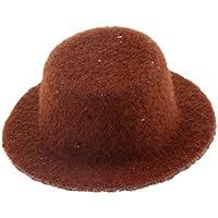 Dovewill 全12色選ぶ かわいい  人形用  ミニ  ハット  帽子  1/12スケール ドールハウス用  装飾 - コーヒー