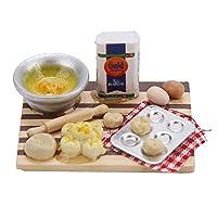 ドールハウスのフードボード 木材+樹脂製 安全 耐久 かわいい 食品調理ボードセット 1/12スケールのドールハウスまたはドール用玩具に適用