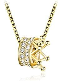 K.L.Y レディース ネックレス 王冠 シルバー925 ペンダントレディース CZキュービックジルコニア 素敵 可愛い 純銀製 プレゼント ギフト (ゴールド)