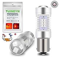 TUINCYN 1156 BA15S P21W LEDターンシグナルライトバルブホワイトCanbusエラーフリー7056 1141 1073 1095 2835 21 SMD LEDオートテールバックアップリバースブレーキライト(2パック)