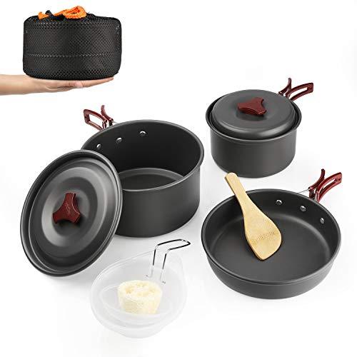 WYAO キャンプクッカー クッカーセット アウトドア鍋 アルミ 調理器具 セット キャンピング鍋 キャンプ 鍋セット アウトドア 収納袋付き (2-3人対応)