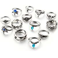 VPbao 13pcs Vintage National Carving Pattern Ring Set Rhinestone Joint Knuckle Rings for Girl Jewellery