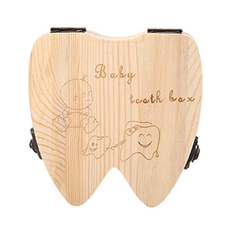練習したどちらもパックVosarea 歯の形の木の記念品の保存箱のコレクションのホールダーが付いている木の子供箱の歯