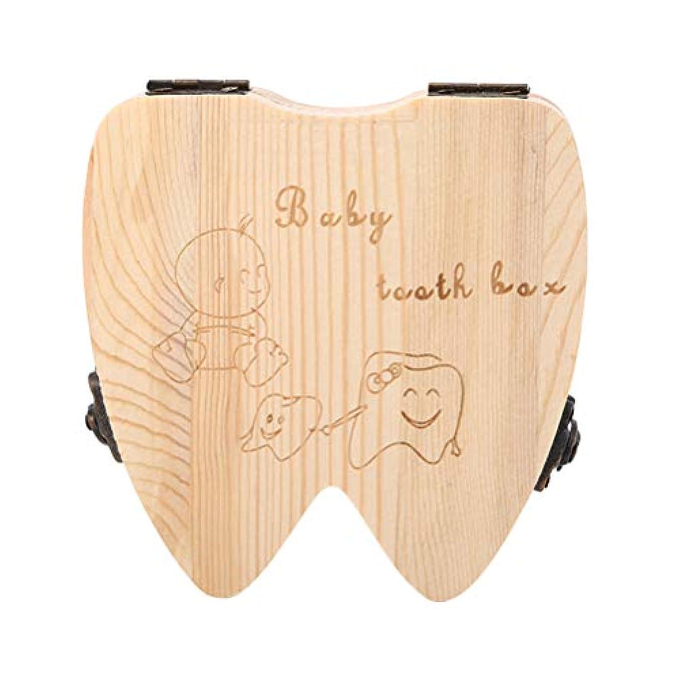 神社無法者スペアVosarea 歯の形の木の記念品の保存箱のコレクションのホールダーが付いている木の子供箱の歯
