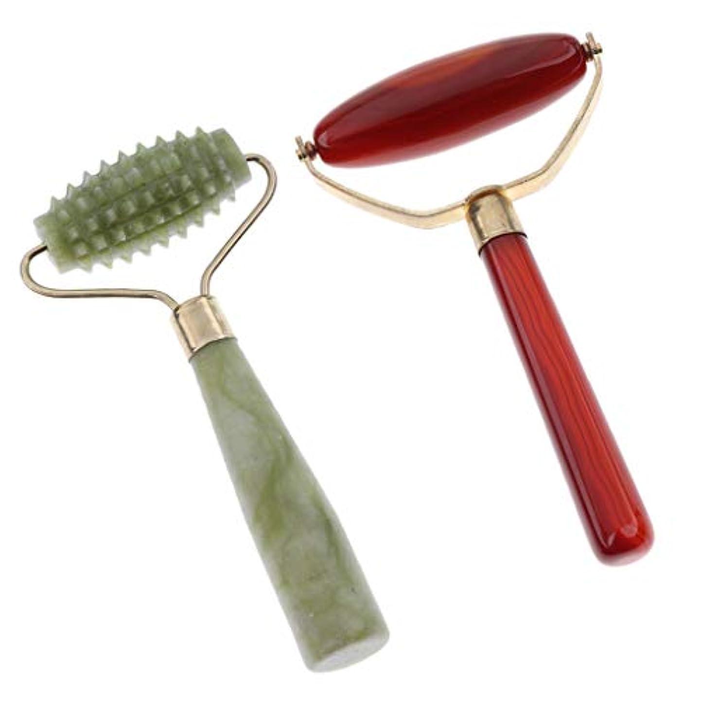 理容師伝染病ペルメルFLAMEER 美容ツールマッサージ 翡翠の石ローラー グアシャマッサージツール 操作 簡単 2本