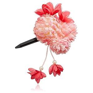 [粋花]Suikaポンポンダリア風和装髪飾り148 ピンク