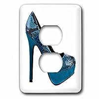3drose LSP 62290_ 6ブルー蛇皮靴の写真のライトスイッチカバー
