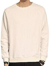 Mirroryou 秋服 パーカー メンズ 長袖 Tシャツ ゆとり 秋冬対策 ファッション カジュアル 袖パッチ 丸首 無地 大きいサイズあり 着心地抜群 柔らか M-5XL 全2色
