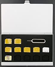 [BlueCraft] nanoSIMカード収納用アルミケース 12枚収納 取り出し リリースピン 紛失防止 持ち運び ケース 出張 海外旅行 MVNO SIMカード変換アダプタセット付属 (シルバー)