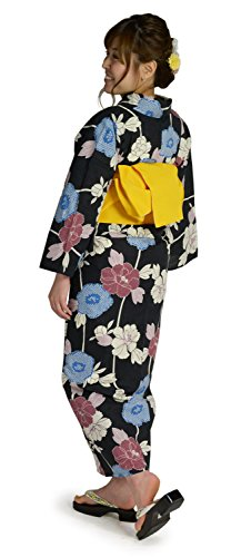 kimonocafe(キモノカフェ) [浴衣福袋]27タイプから選べるレディース浴衣3点セット<居敷当付き浴衣+帯+下駄> レトロで上品。 粋な色・柄がかっこいい大人浴衣(疋田牡丹柄ブラック07)