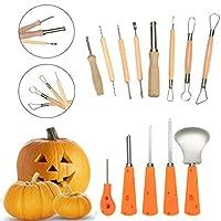 13ピース頑丈なステンレススチールPumpkin Carvingツールキット–PumpkinのハロウィンクリエイティブCarvingツールをカット、Scoops、Scrapers、Saws、ループ
