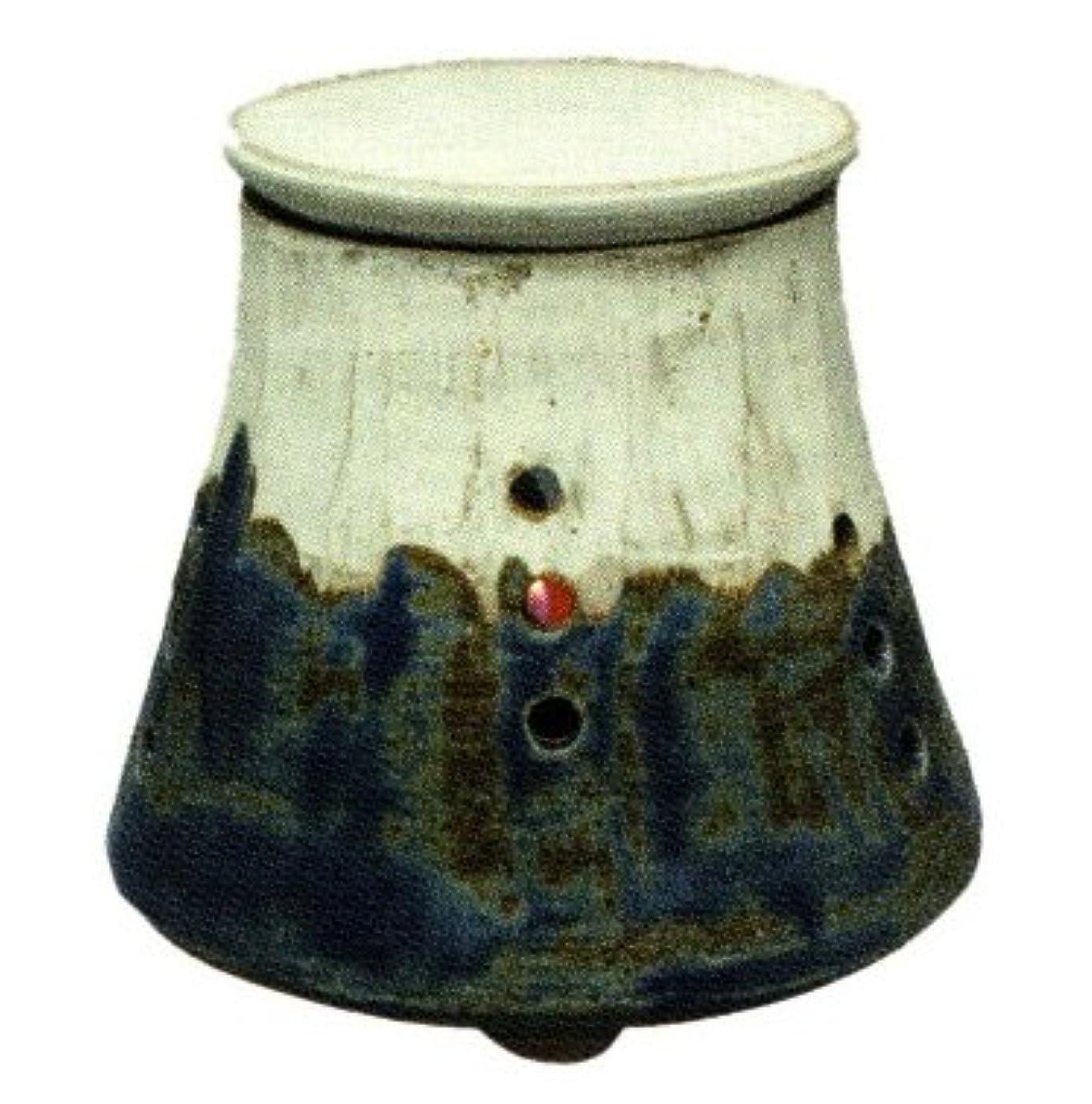 軍艦素敵なマンモス常滑焼?焜清 カ39-01 茶香炉 青富士 径10.5×9.5cm