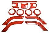 JEEP ジープ ラングラー JK 汎用 ドレス アップ ハンドル エアコン ドア ノブ 装飾カバー 12点セット レッド 赤