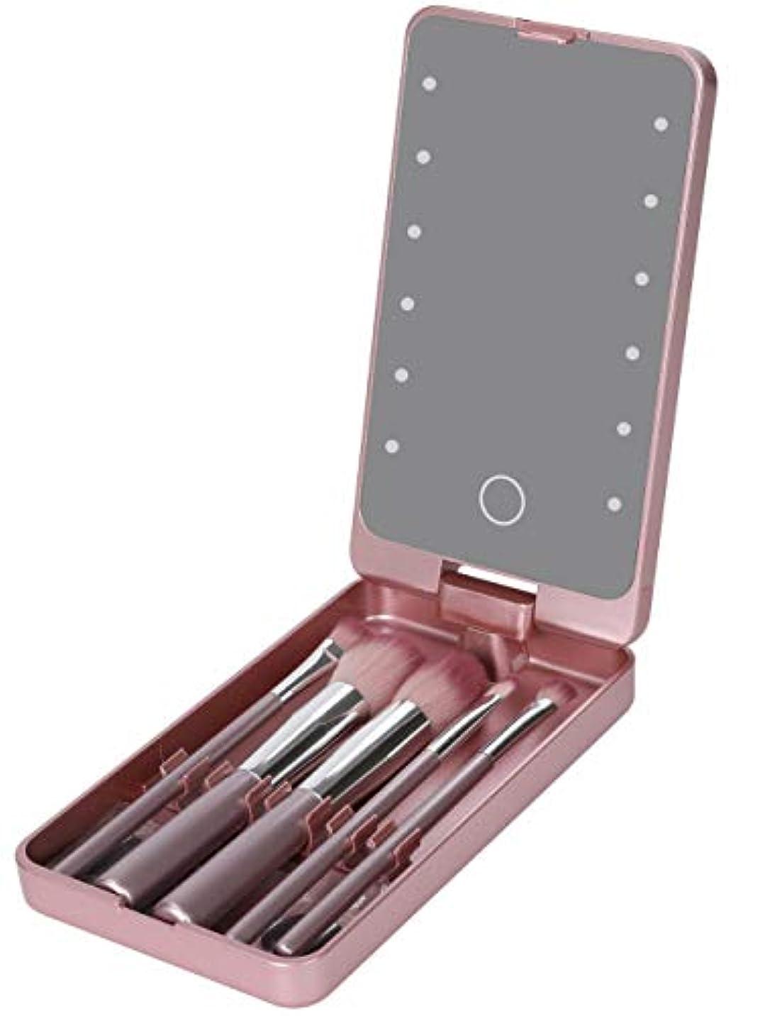領事館おそらく徹底Looife 化粧鏡 led ミラー 5化粧ブラシ付き ライト付き女優ミラー 携帯型 (バラの金)
