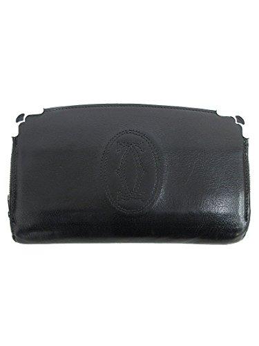 Cartier(カルティエ) マルチェロ ラウンドファスナー長財布 黒 ブラック レザー 【ブランド財布】 【中古】