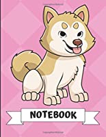 Notebook: Cute Husky Malamute Puppy Dog Cartoon on a Pink Diamond Background. Book is Filled with Lined Journal Paper for Notes and Creating Writing.