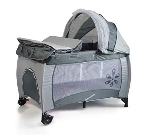 (Newox) プレイヤード ベビーサークル 折りたたみ おむつ替えテーブル付 お昼寝マット付 大型ホロと虫よけネット付 (Grey)