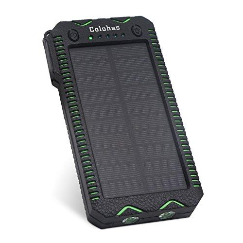 【2017年最新版】Colohas 超大容量20000mAh モバイルバッテリ ソーラーチャージャー 2USB出力ポート 防水・防塵・耐衝撃 地震、 旅行、ハイキングに大活躍 太陽光で充電でき (緑黒)