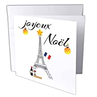 TNMGraphicsクリスマス–クリスマスフランスエッフェル塔Joyeux Noel–グリーティングカード Set of 12 Greeting Cards