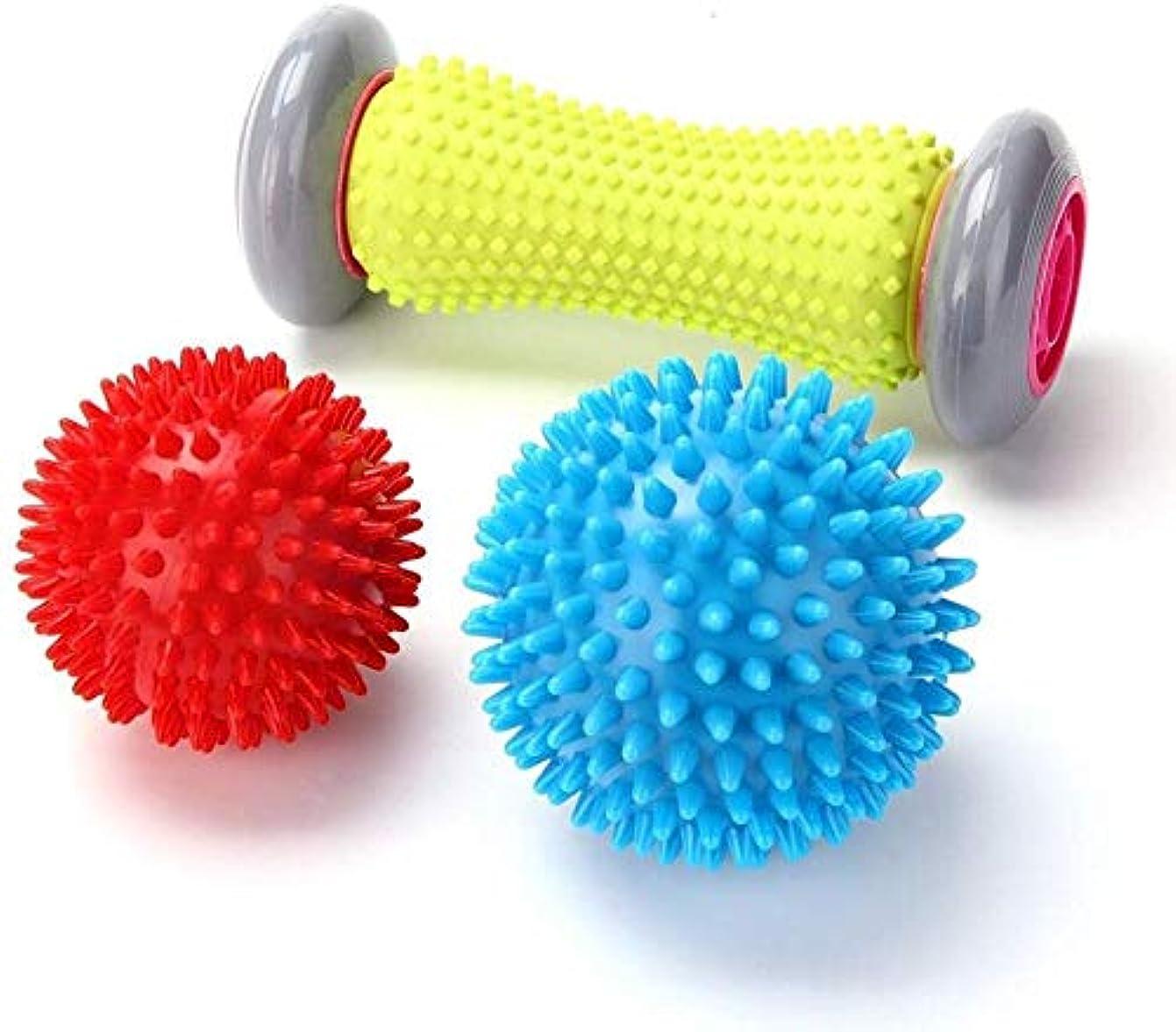 誤解を招くピアースエイリアスフットマッサージローラースパイキーボール-足底筋膜炎の筋肉ローラースティック(1ローラー+ 2ボール),1 Roller +2 Balls