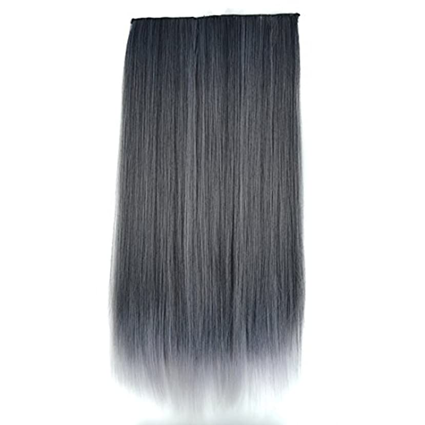 病的繁栄適応的JIANFU 合成ヘアエクステンションヘアカラーグラデーションウィッグピースで5クリップロングストレートヘアピース60cm (Color : Black gradient dark granny ash)