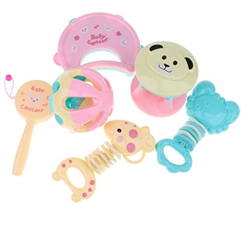 茎床でもDYNWAVE 6本の赤ちゃんのティーザーシリコン幼児臼歯ケアベルラトルおもちゃ