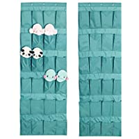 (Lake Blue) - 24 Pockets Over the Door Shoe Organiser, Tidy Closet Wall Hanging Storage Bag Bedroom Home Space Saver Caddy Organiser Unit Rack Shelf Holders Household Wardrobe Accessory, With 3 Hooks (Lake Blue)